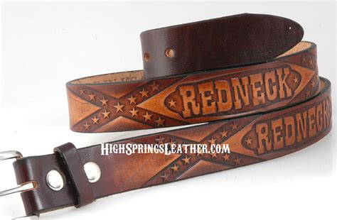 with rebel flag leather name belt