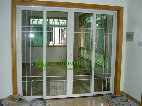 Grilled Upvc Sliding Door For Residential Home White Color Residential Sliding Glass Doors