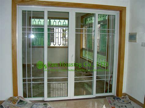 Residential Sliding Glass Doors Grilled Upvc Sliding Door For Residential Home White Color Profile Vinyl Sliding Door