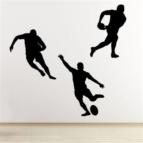 rugby wall stickers rugby player wall stickers 3 pack sports silhouette wall