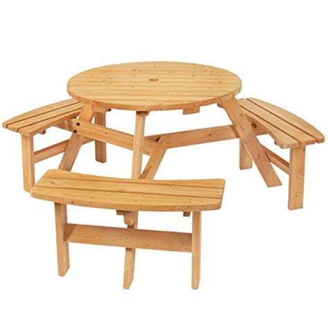 6 person picnic table best choice products outdoor 6 person wood picnic table