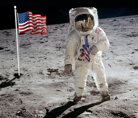 Neil Armstrong An American Apollo 11 Buzz Aldrin S American Flag Necktie On The Moon