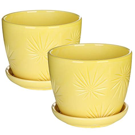 yellow pattern planter set of 2 yellow sunburst design ceramic flower planter