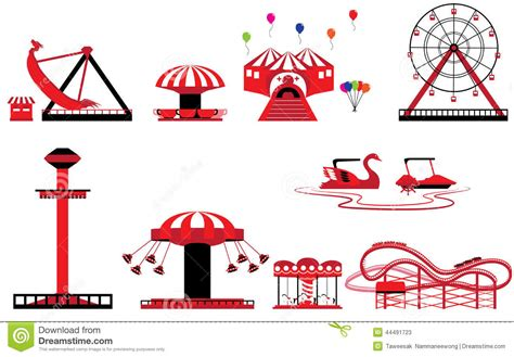 theme park vector set of theme park and amusement stock vector image 44491723