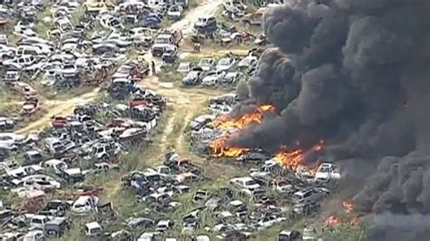 Texas Brush Fire Sparks Massive Junkyard Blaze   autoevolution