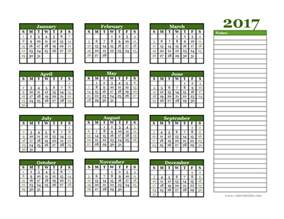 calendar notes template 2017 yearly calendar with blank notes free printable