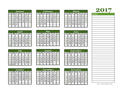printable calendar labs 2017 2017 yearly calendar with blank notes free printable