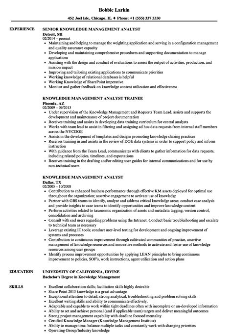 Management Analyst Resume by Knowledge Management Analyst Resume Sles Velvet