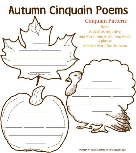 earning my cape autumn poetry printables for kids class