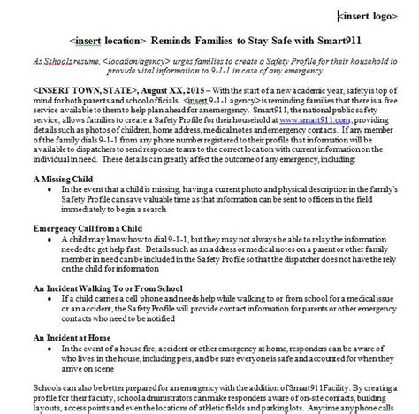 crisis press release template safety archives page 2 of 3 safety smart911