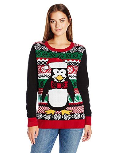 womens light up sweater sweater s penguin light up crew neck