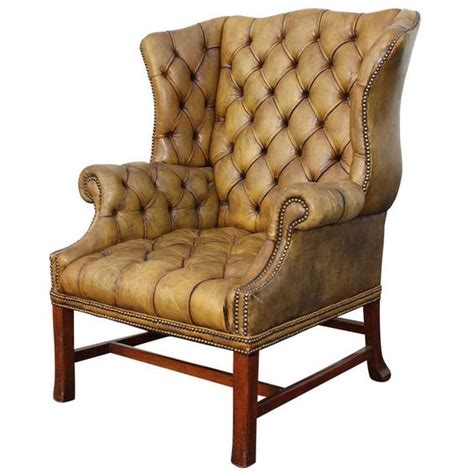 Fontaine Wingback Chair by Grand Scale Tufted Leather Wingback Chair