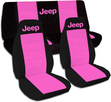 pink jeep interior jeep wrangler yj tj jk 1987 2017 two tone seat covers w