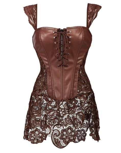 leather corset with lace skirt coffee wholesale