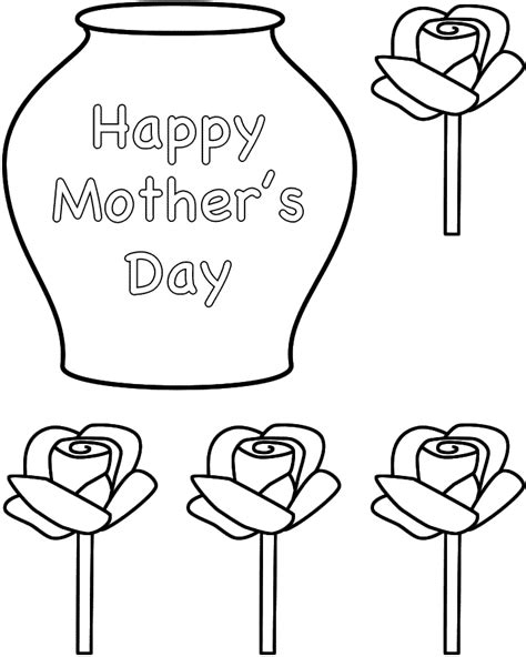 printable vase templates mother s day roses in a vase paper craft black and