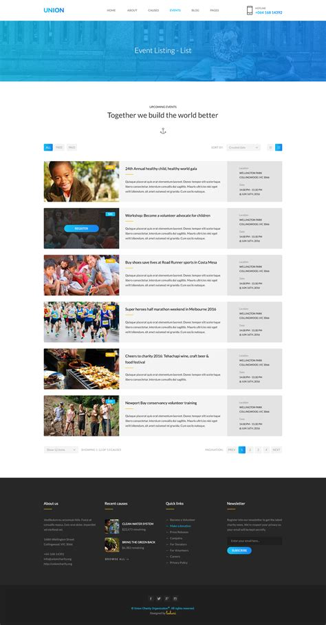 event listing website template union charity psd template by leehari themeforest