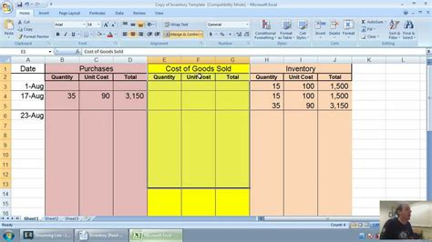 fifo spreadsheet template accounting unit 6 part 2 fifo inventory