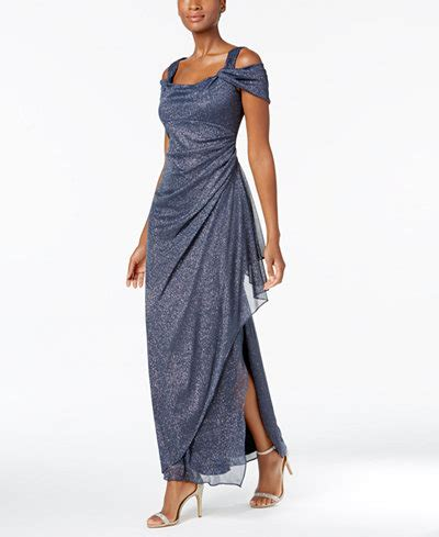 drape gowns alex evenings cold shoulder draped metallic gown dresses