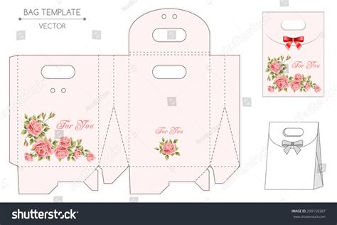 gift bag cards for baby template vector gift bag template floral design stock vector