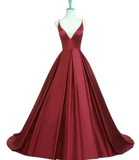 dark red boat neck dress satin dark red prom dress stain prom dress v by prom