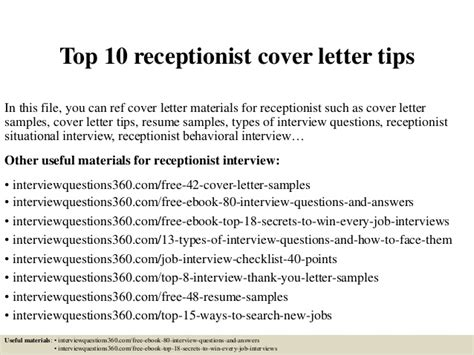 junior receptionist cover letter top 10 receptionist cover letter tips