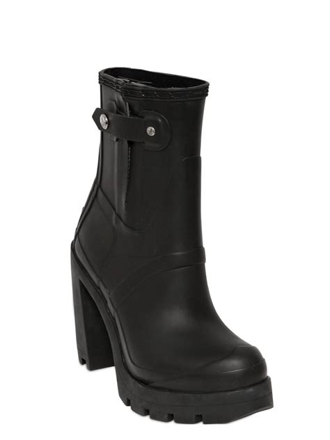 110mm high heel rubber ankle boots in black lyst