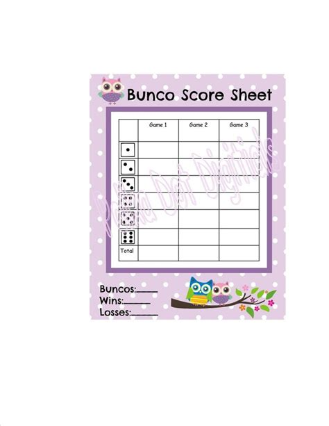 Bunco Score Card Templates Valentines by Buy 2 Get 1 Free Owl Bunco Score Card Sheet With Matching