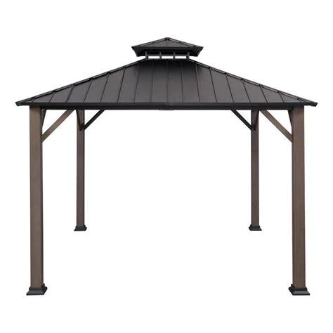 metal gazebo shop allen roth black woodgrain metal square gazebo
