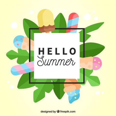 iced layout editor download summer background with leaves and ice cream in flat design