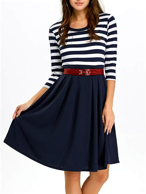 Panel A Line Dress stripe panel a line dress in purplish blue sammydress