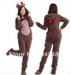 Christmas deer fleece cotton adult unisex footed pajamas sleepsuit one