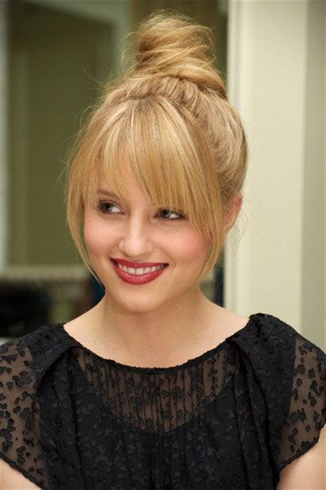 high buns with bangs for chubby cheeks hairstyles updo fringes and highlights on pinterest