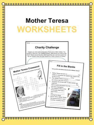 mother teresa saint teresa mother teresa activities famous figures through history worksheets resources for kids