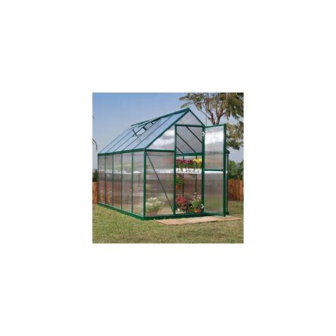 paroi jardin serre de jardin mythos 5 7 m2 laqu 233 e verte polycarbonate paroi embase plantes et