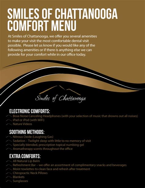comforts menu anxiety free comfortable dentistry