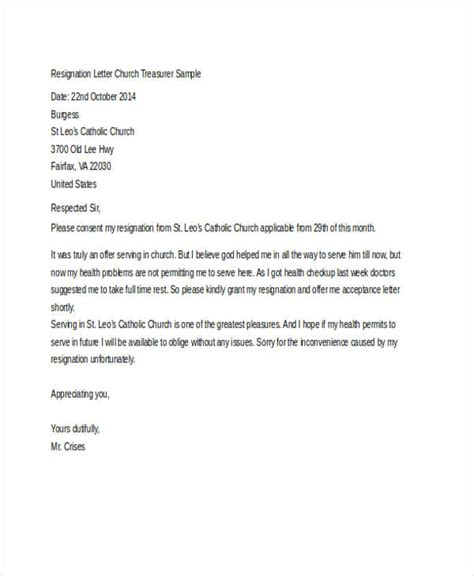 Resignation Letter Of Church Position Church Resignation Letter Template 9 Free Word Pdf
