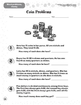 Coin Problems Word Problems Money Printable Skills Sheets