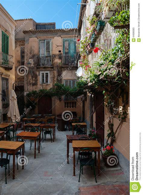 Small Cute Italian Restaurant Outside In Patio Of Stock