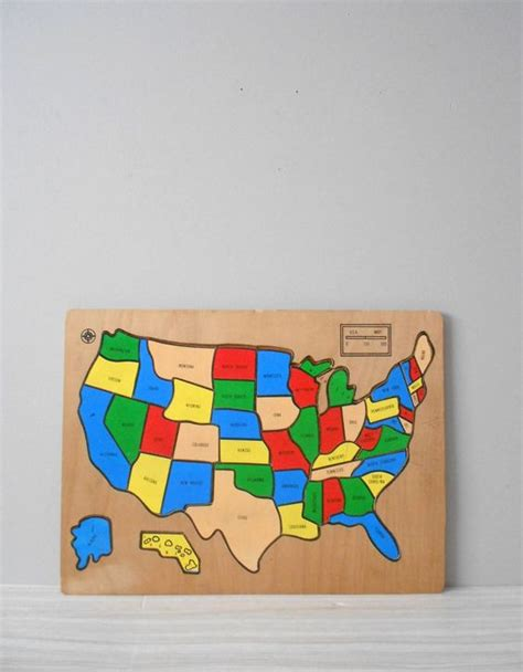 vintage wood puzzle map of the us united states of