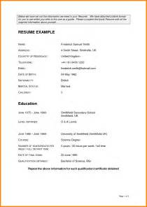 Blank Resume Format Free by 4 Blank Resume Formats