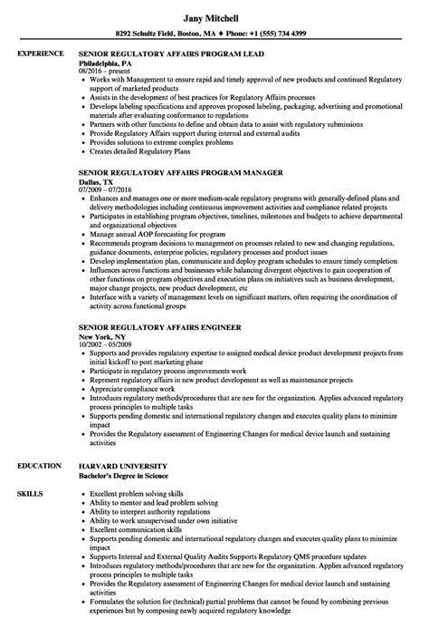 regulatory resume sle cv templates senior regulatory affairs resume sles velvet
