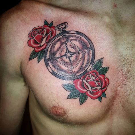 rose and compass tattoo 75 and compass designs meanings choose