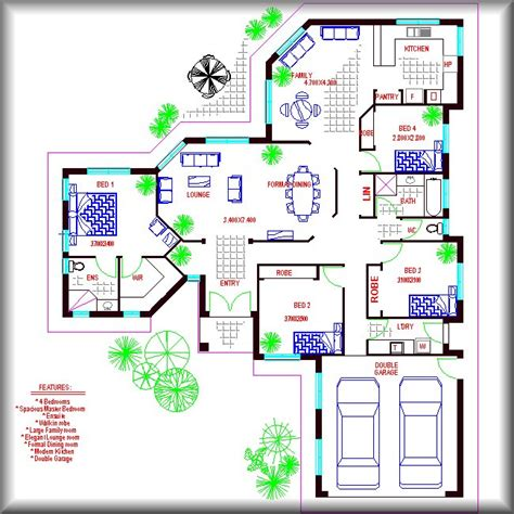 4 bed room formal dining family house plan australian