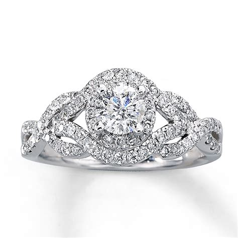 14k white gold 1 carat t w diamond engagement ring