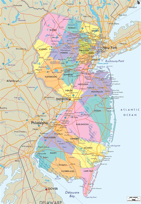new jersey on the map of usa detailed political map of new jersey ezilon maps