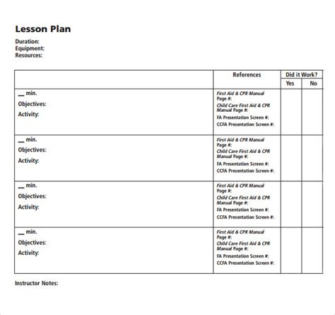 12 Blank Lesson Plan Templates Sles Exles Format Sle Templates Aid Lesson Plan Template
