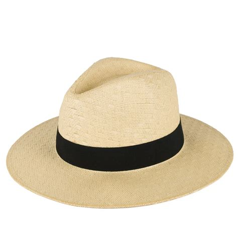 Hat With Paper - s plain woven fedora hat with black band 100