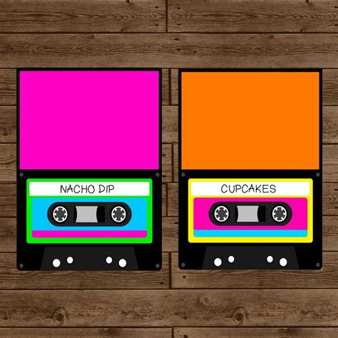Retro 80 S Card Templates by Totally 80s Retro Cassette Inspired Food Label Tent Cards