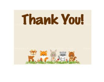 printable animal thank you cards woodland thank you etsy