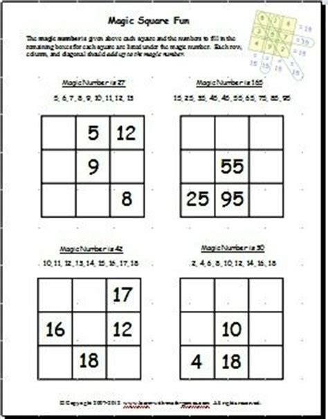 Easy Magic Squares Worksheet by The World S Catalog Of Ideas